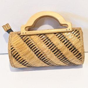 "Vintage wicker handbag 11""x5""x3"""